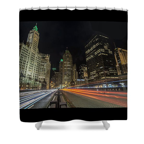 Chicago's Mag Mile Night Streaks Shower Curtain