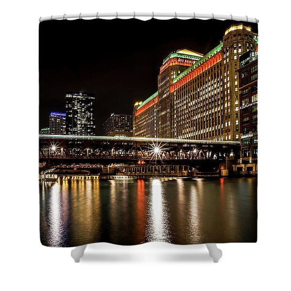 Chicago's Merchandise Mart At Night Shower Curtain