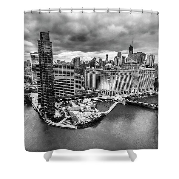 Chicago's Wolf Point From The 27th Floor Shower Curtain