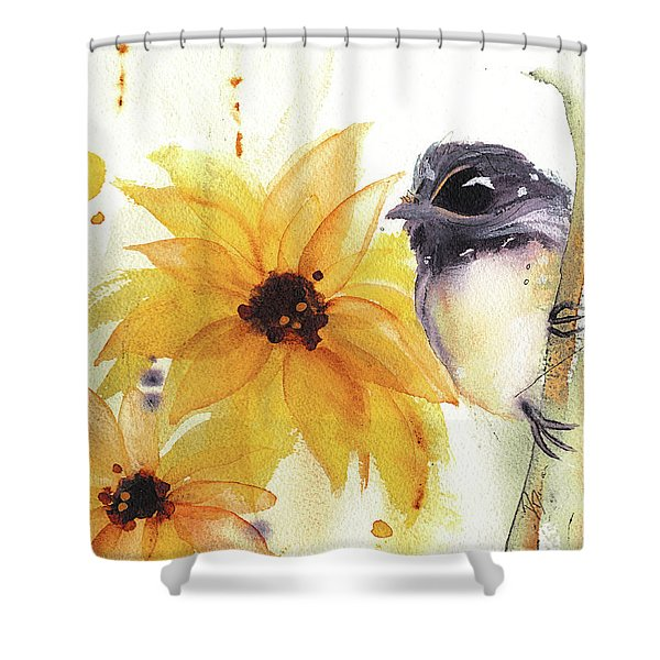 Chickadee And Sunflowers Shower Curtain