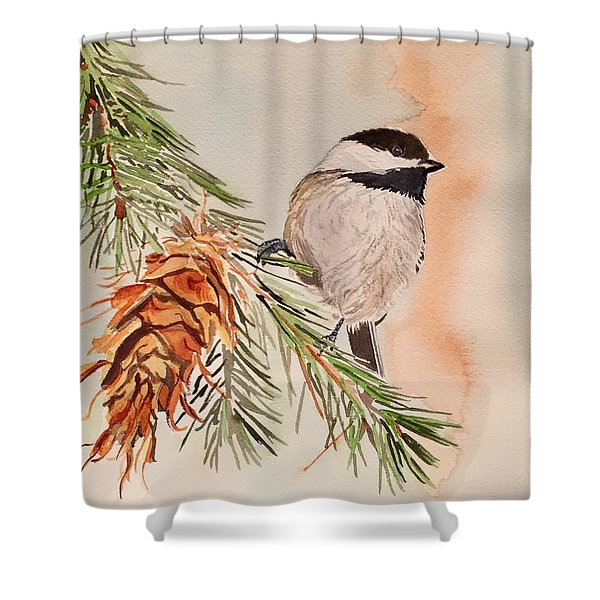Chickadee In The Pine Shower Curtain