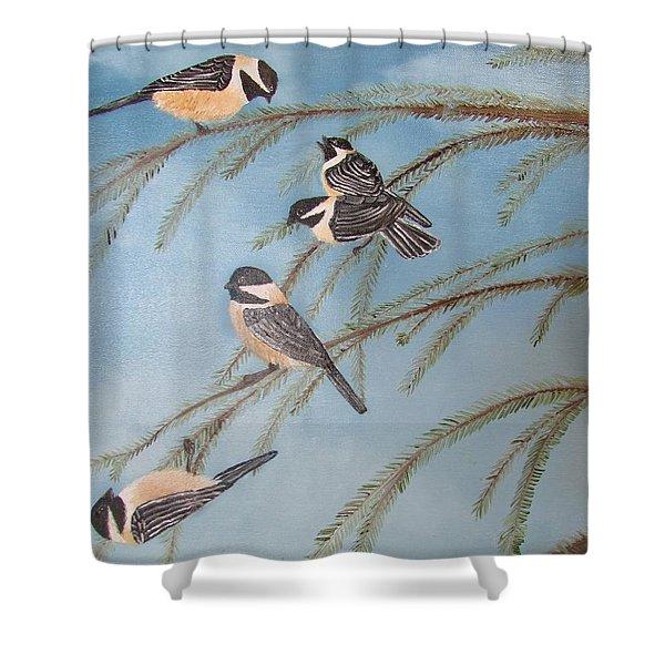 Chickadee Party Shower Curtain