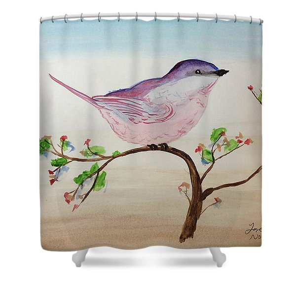 Chickadee Standing On A Branch Looking Shower Curtain