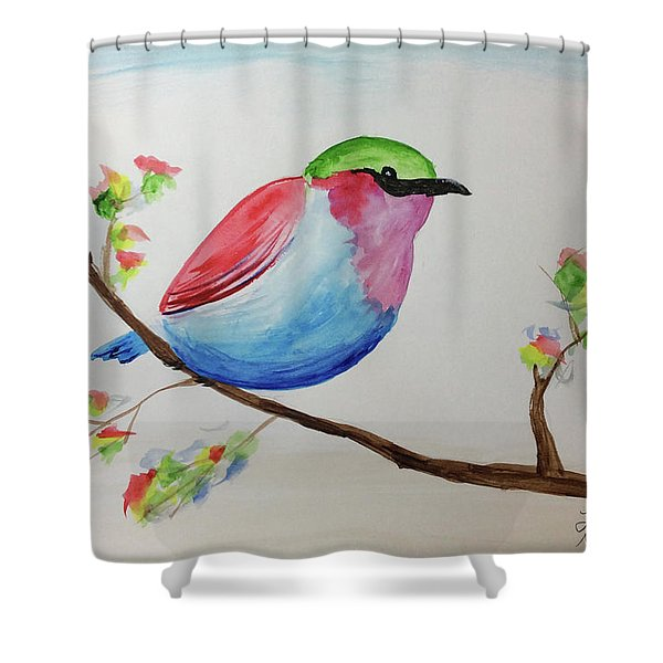 Chickadee With Green Head On A Branch Shower Curtain