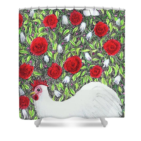 Chicken And Butterflies In The Flowers Shower Curtain
