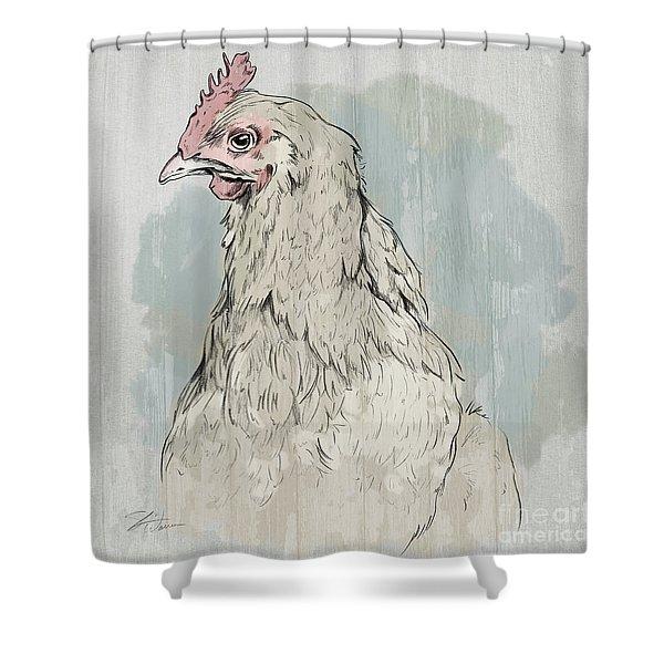 Chicken Portrait-farm Animals Shower Curtain