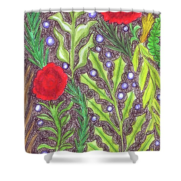 Chicken With An Attitude In Vegetation Shower Curtain