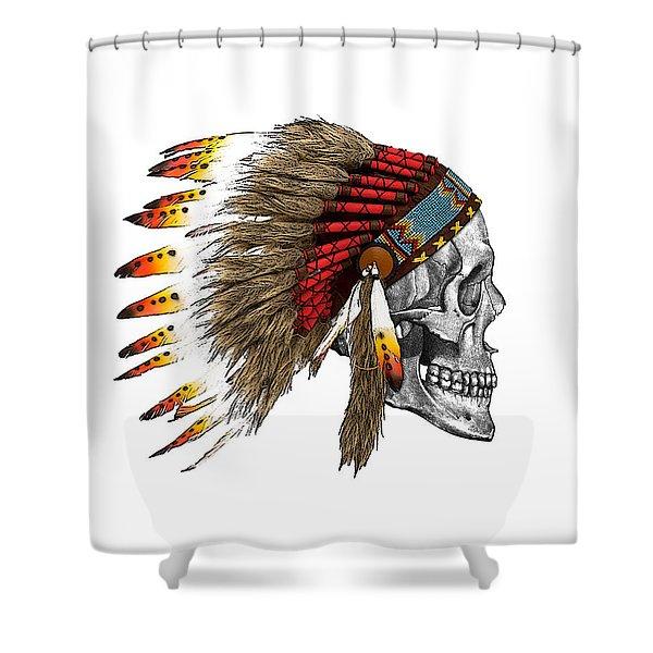 Chief Headdress On Human Skull Native American Art Shower Curtain