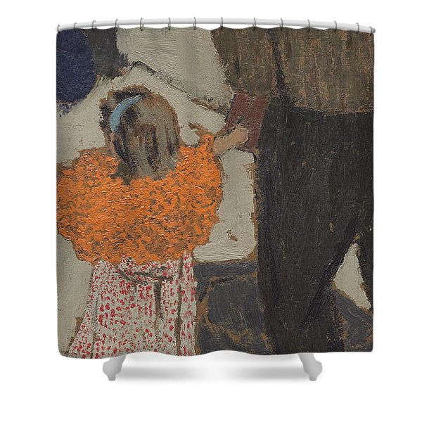 Child Wearing A Red Scarf Shower Curtain
