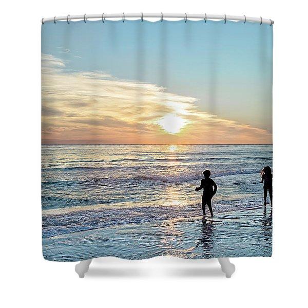 Children At Play On A Florida Beach  Shower Curtain