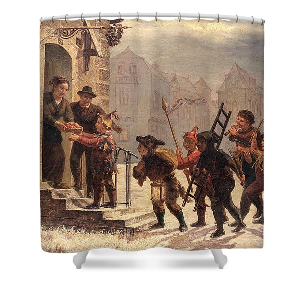 Children Collecting Fruit At The Door   Shower Curtain