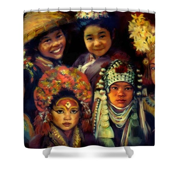 Children Of Asia Shower Curtain