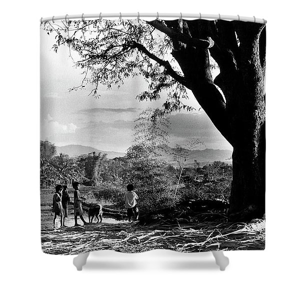 Shower Curtain featuring the photograph Children Of Central Highland Are Playing With A Dog by Silva Wischeropp