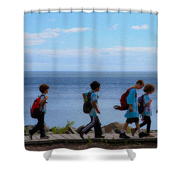 Children On Lake Walk Shower Curtain