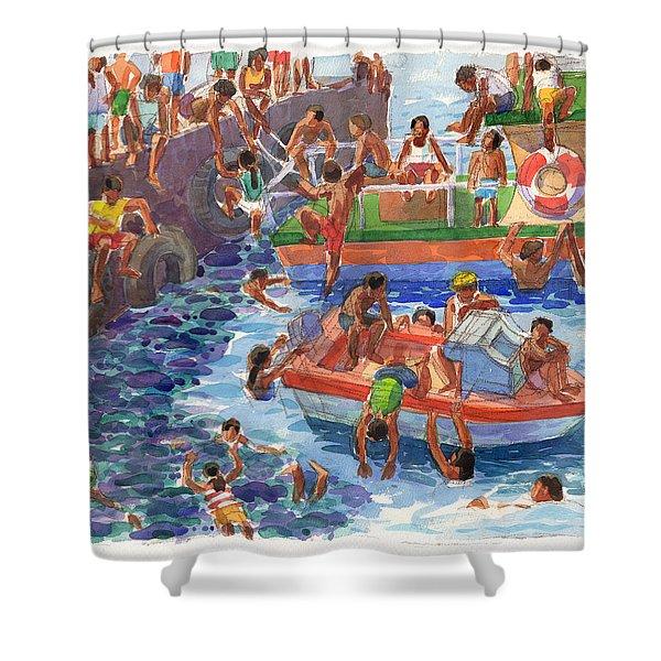 Children Playing At Avarua Wharf  Shower Curtain