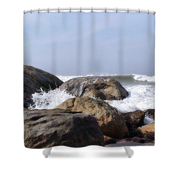 Three Oceans Meet Shower Curtain