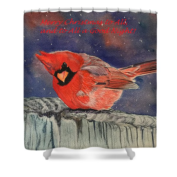 Chilly Bird Christmas Card Shower Curtain