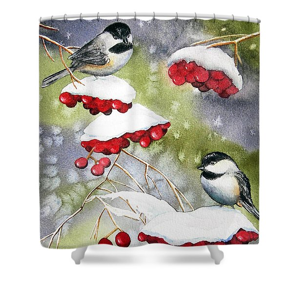 Chilly Chickadees Shower Curtain