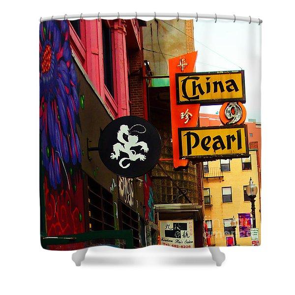China Pearl Sign, Chinatown, Boston, Massachusetts Shower Curtain