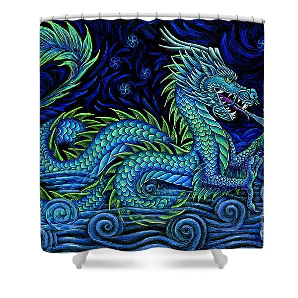 Chinese Azure Dragon Shower Curtain