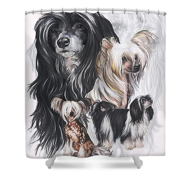 Chinese Crested And Powderpuff Medley Shower Curtain