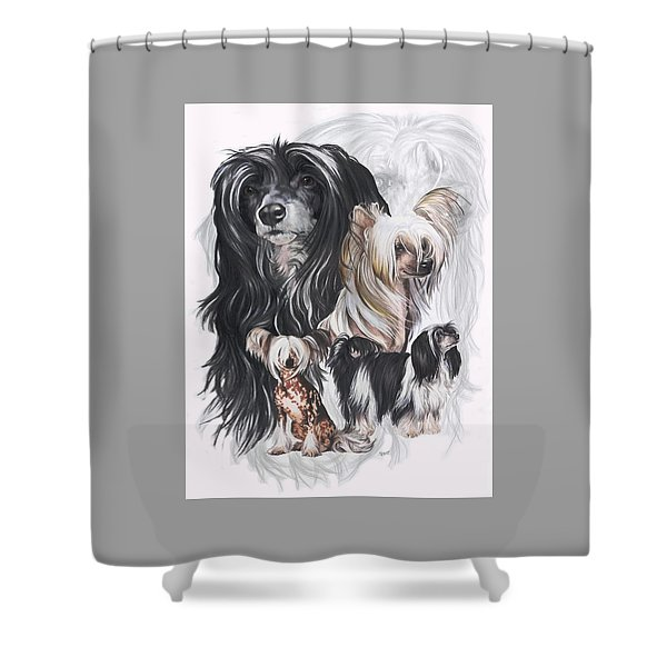 Shower Curtain featuring the mixed media Chinese Crested And Powderpuff Medley by Barbara Keith