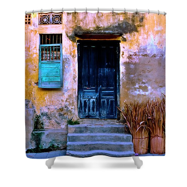 Shower Curtain featuring the photograph Chinese Facade Of Hoi An In Vietnam by Silva Wischeropp