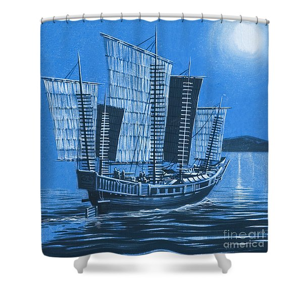 Chinese Ship Shower Curtain