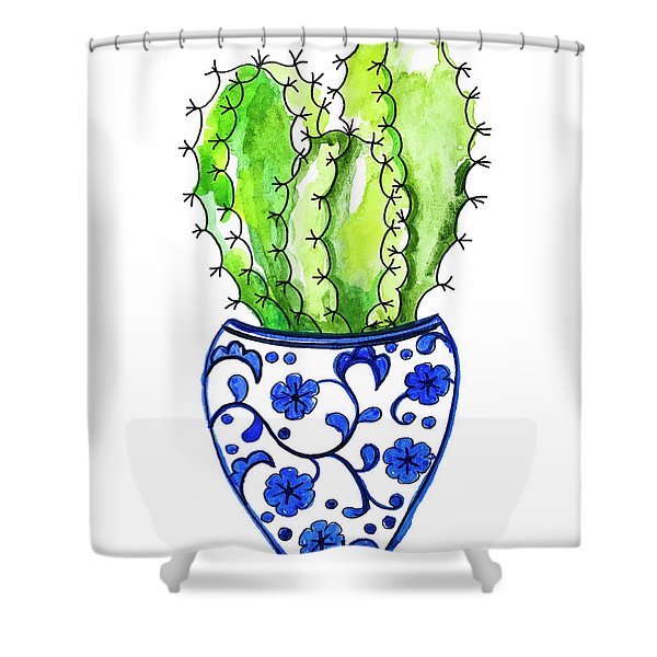 Chinoiserie Cactus No3 Shower Curtain