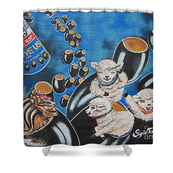 Flygende Lammet  Productions    Like It Or Not  Olive Us On Board  Shower Curtain