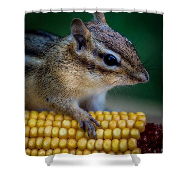 Chipmunk Goes Wild For Corn Shower Curtain