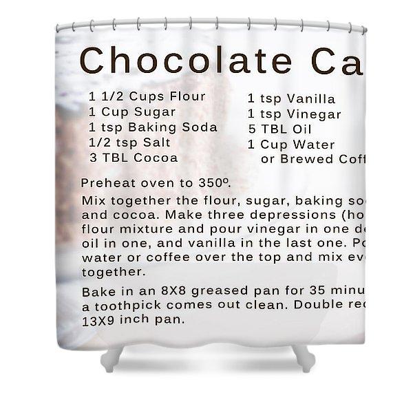 Chocolate Cake Recipe Shower Curtain