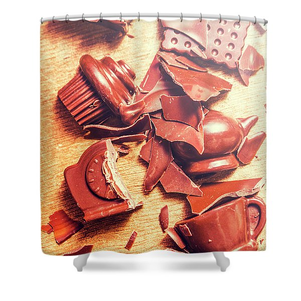 Chocolate Tableware Destruction Shower Curtain