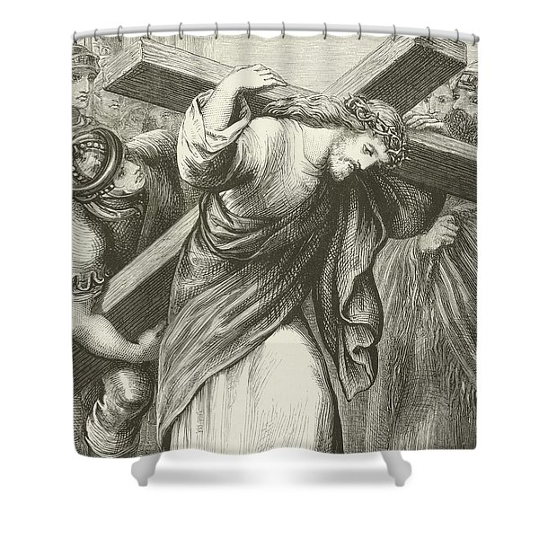 Christ Carrying His Cross Shower Curtain