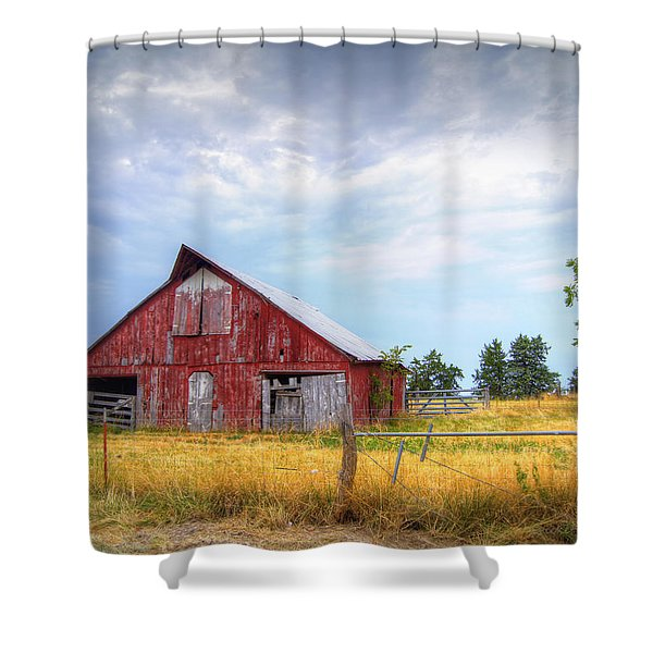 Christian School Road Barn Shower Curtain
