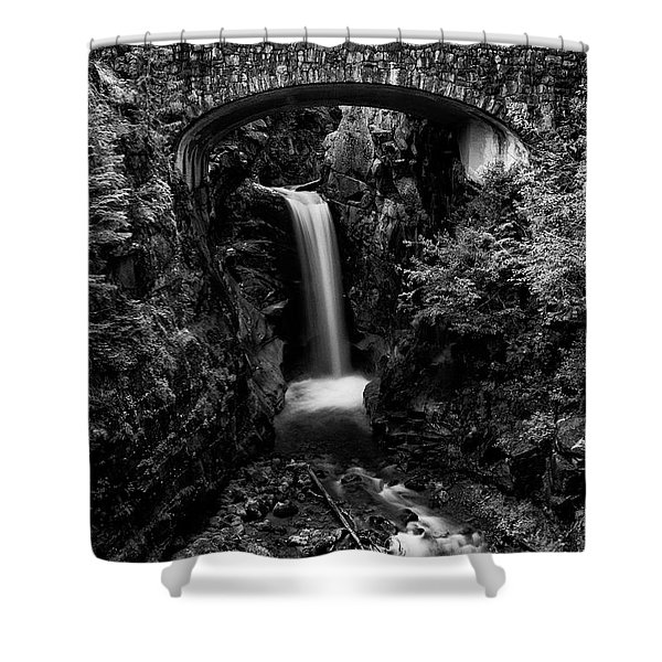 Christine Falls - Mount Rainer National Park - Bw Shower Curtain