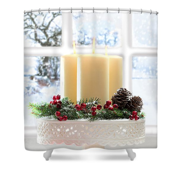 Christmas Candles Display Shower Curtain