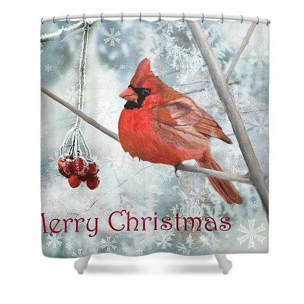 Christmas Cardinal Shower Curtain