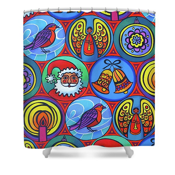 Christmas In Circles Shower Curtain