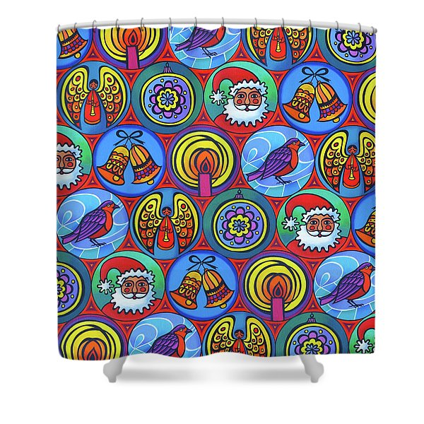 Christmas In Small Circles Shower Curtain