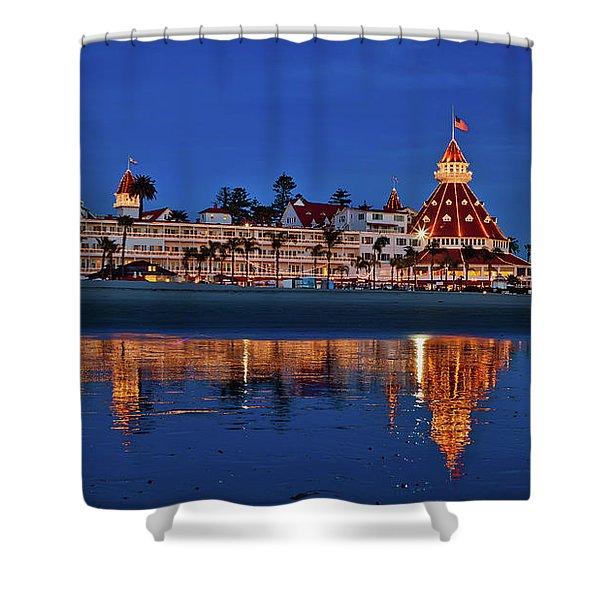 Christmas Lights At The Hotel Del Coronado Shower Curtain