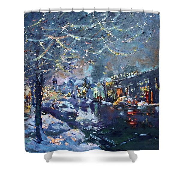 Christmas Lights In Elmwood Ave  Shower Curtain