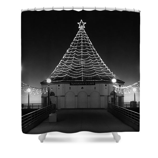 Christmas Lights On Manhattan Pier B And W Shower Curtain