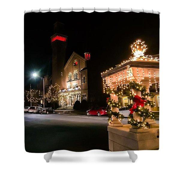 Shower Curtain featuring the photograph Christmas On Main Street Easthampton by Sven Kielhorn