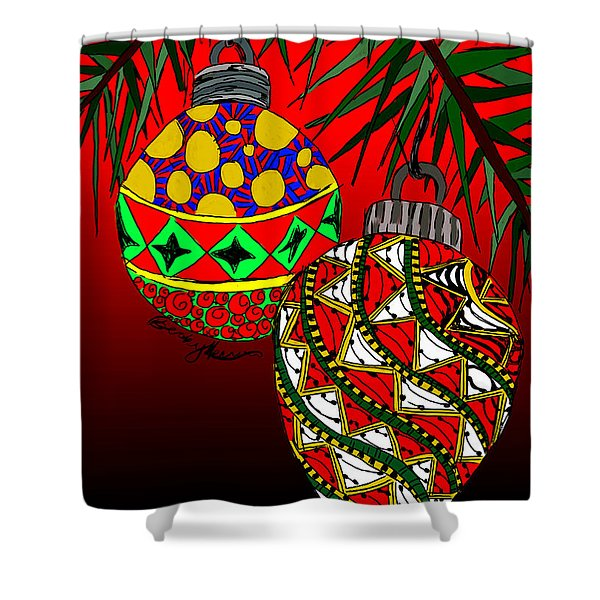 Christmas Ornaments Shower Curtain