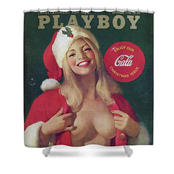 Christmas Playboy Vintage Cover Shower Curtain