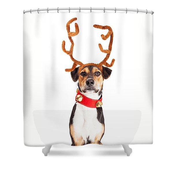 Christmas Reindeer Dog Tall Banner Shower Curtain