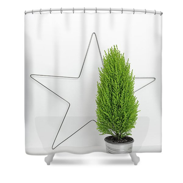 Christmas Star And Little Green Tree Shower Curtain