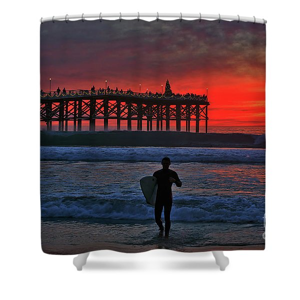 Christmas Surfer Sunset Shower Curtain