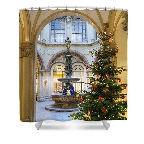 Christmas Tree In Ferstel Passage Vienna Shower Curtain